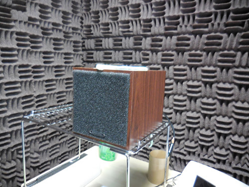 音場閾値測定は、スピーカーから音を出して調べる。