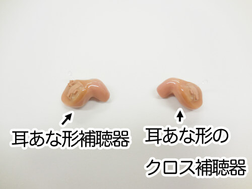 クロス版の耳あな形補聴器。見た目は、耳あな形補聴器と変わらない。
