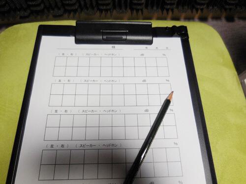 聞こえた通りに紙に書くのが基本。そして、のちに正解数を見て、どのくらい理解できる耳なのか。それを明らかにしていく。それが語音明瞭度測定だ。