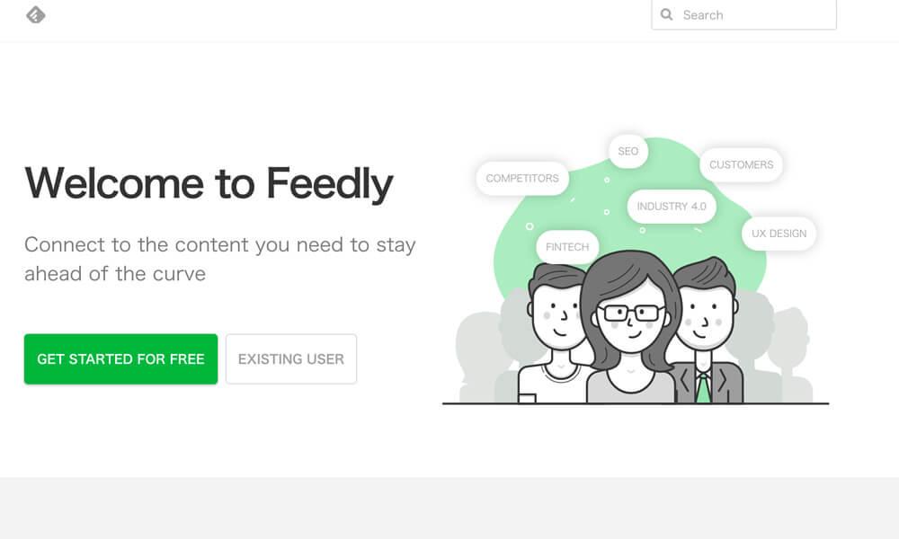 feedlyのサイトのトップページ。
