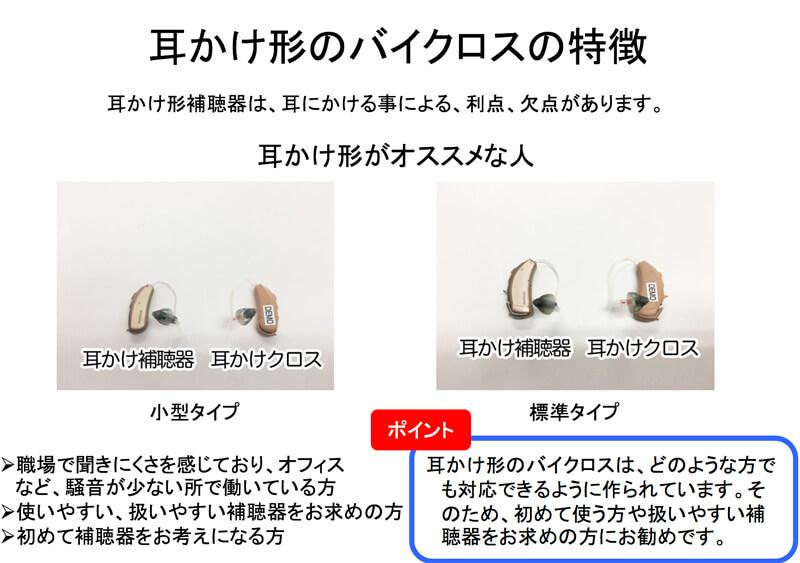厳密には、耳かけ形のタイプは、小型のタイプと標準タイプがあります。違うのは、大きさと電池の持ちで、それ以外の性能やできることなどは、ほぼ同じです。また、耳かけ形で得られる利点も欠点も同じです。