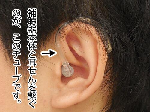 補聴器本体と耳せんを繋ぐのに透明なチューブがあるのですが、ここも長すぎると、補聴器本体が浮きやすくなり、外れやすくなる原因になります。
