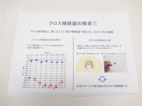 クロス補聴器に関する内容は、一通り、資料にまとめ、クロス補聴器に関して、理解しやすくしています。