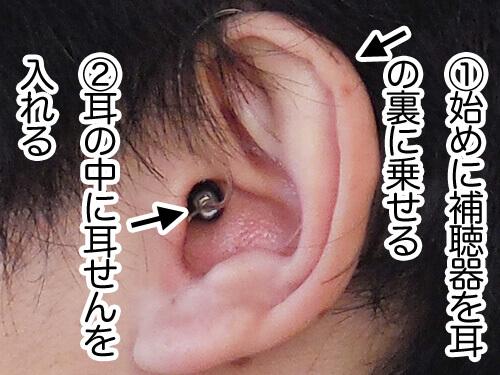基本的な付け方ですが、耳の裏に補聴器をのせ、その後に、耳の中に耳せんを入れます。このようにすると、入れやすくなります。